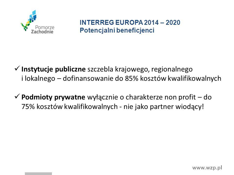 www.wzp.p l INTERREG EUROPA 2014 – 2020 Potencjalni beneficjenci Instytucje publiczne szczebla krajowego, regionalnego i lokalnego – dofinansowanie do 85% kosztów kwalifikowalnych Podmioty prywatne wyłącznie o charakterze non profit – do 75% kosztów kwalifikowalnych - nie jako partner wiodący!
