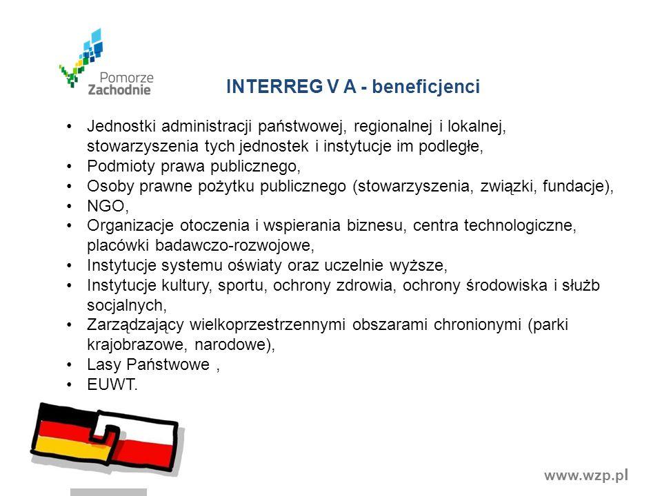 www.wzp.p l INTERREG V A - beneficjenci Jednostki administracji państwowej, regionalnej i lokalnej, stowarzyszenia tych jednostek i instytucje im podl