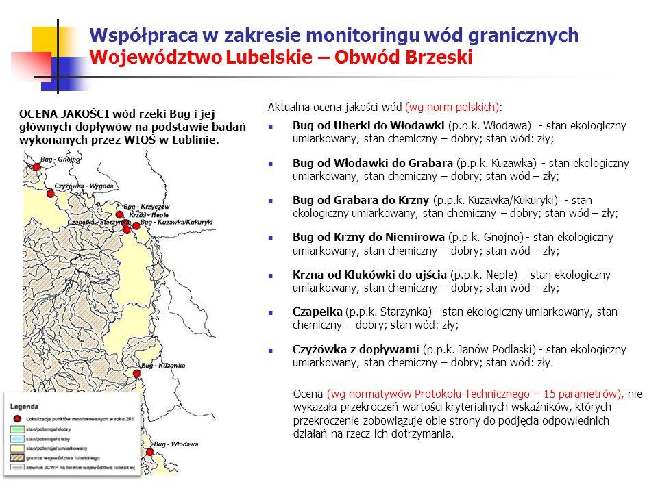 Współpraca w zakresie monitoringu wód granicznych Województwo Lubelskie – Obwód Brzeski Aktualna ocena jakości wód (wg norm polskich): Bug od Uherki do Włodawki (p.p.k.