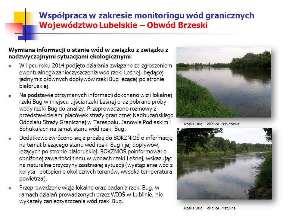 Współpraca w zakresie monitoringu wód granicznych Województwo Lubelskie – Obwód Brzeski Wymiana informacji o stanie wód w związku z związku z nadzwyczajnymi sytuacjami ekologicznymi: W lipcu roku 2014 podjęto działania związane ze zgłoszeniem ewentualnego zanieczyszczenia wód rzeki Leśnej, będącej jednym z głównych dopływów rzeki Bug leżącej po stronie białoruskiej.