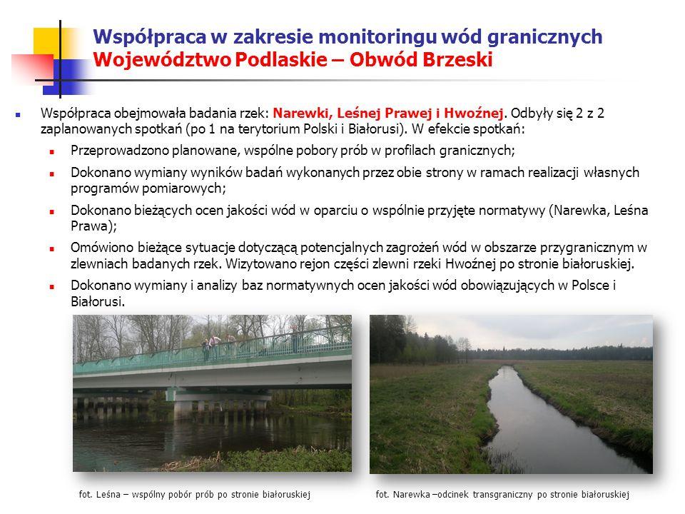 Współpraca w zakresie monitoringu wód granicznych Województwo Podlaskie – Obwód Brzeski Współpraca obejmowała badania rzek: Narewki, Leśnej Prawej i Hwoźnej.