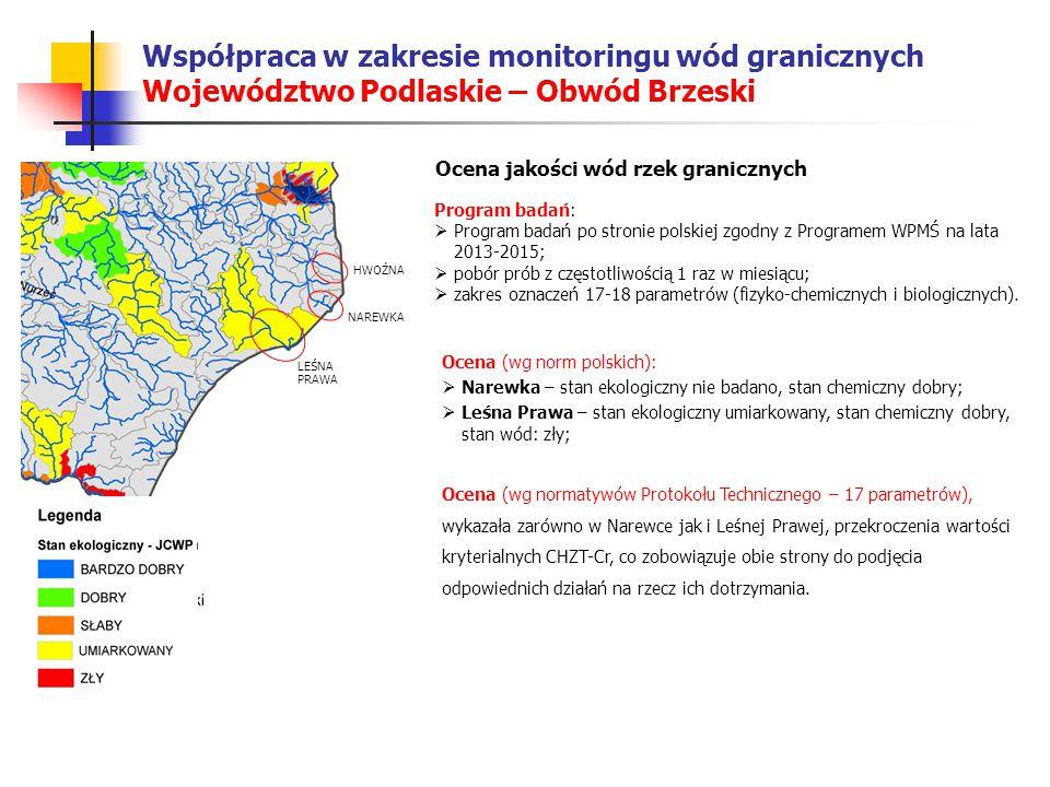 Współpraca w zakresie monitoringu wód granicznych Województwo Podlaskie – Obwód Brzeski W przypadku Leśnej Prawej (rzeka wypływa z Polski) podjęto następujące działania:  Dokonano kontroli oczyszczalni ścieków w Hajnówce, na której prowadzona jest modernizacja technologii oczyszczalnia – nie stwierdzono nieprawidłowości w pracy urządzeń;  Przeprowadzono wizję terenową rzeki na obszarze miasta – stwierdzono zanieczyszczenie rzeki zagniłymi osadami.