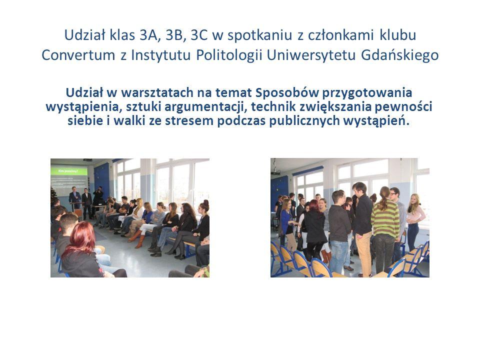 Udział klas 3A, 3B, 3C w spotkaniu z członkami klubu Convertum z Instytutu Politologii Uniwersytetu Gdańskiego Udział w warsztatach na temat Sposobów przygotowania wystąpienia, sztuki argumentacji, technik zwiększania pewności siebie i walki ze stresem podczas publicznych wystąpień.