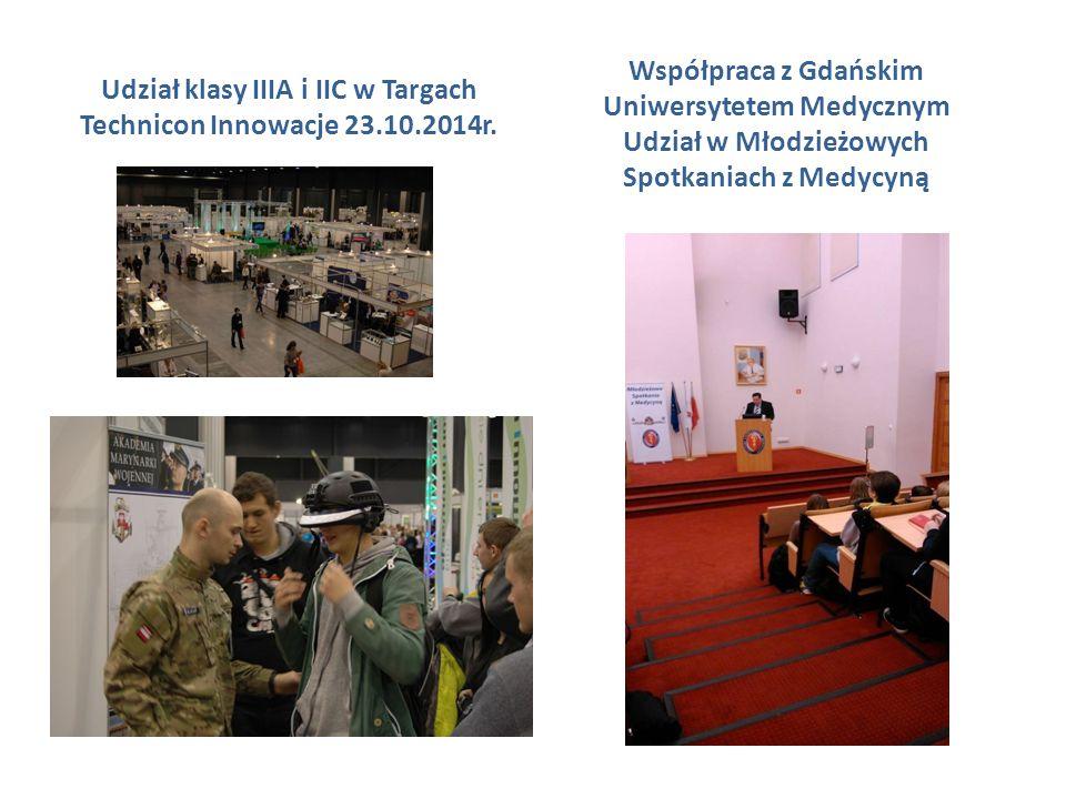 Udział klasy IIIA i IIC w Targach Technicon Innowacje 23.10.2014r. Współpraca z Gdańskim Uniwersytetem Medycznym Udział w Młodzieżowych Spotkaniach z