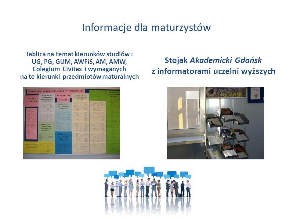 Informacje dla maturzystów Tablica na temat kierunków studiów : UG, PG, GUM, AWFiS, AM, AMW, Colegium Civitas i wymaganych na te kierunki przedmiotów