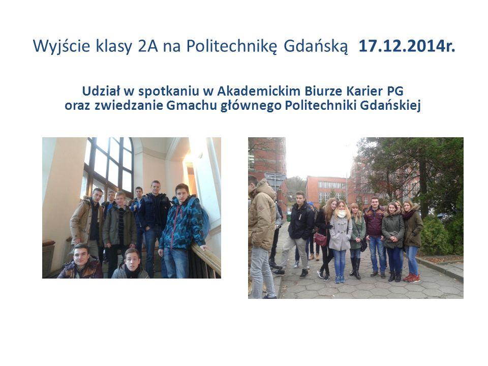 Wyjście klasy 2A na Politechnikę Gdańską 17.12.2014r. Udział w spotkaniu w Akademickim Biurze Karier PG oraz zwiedzanie Gmachu głównego Politechniki G