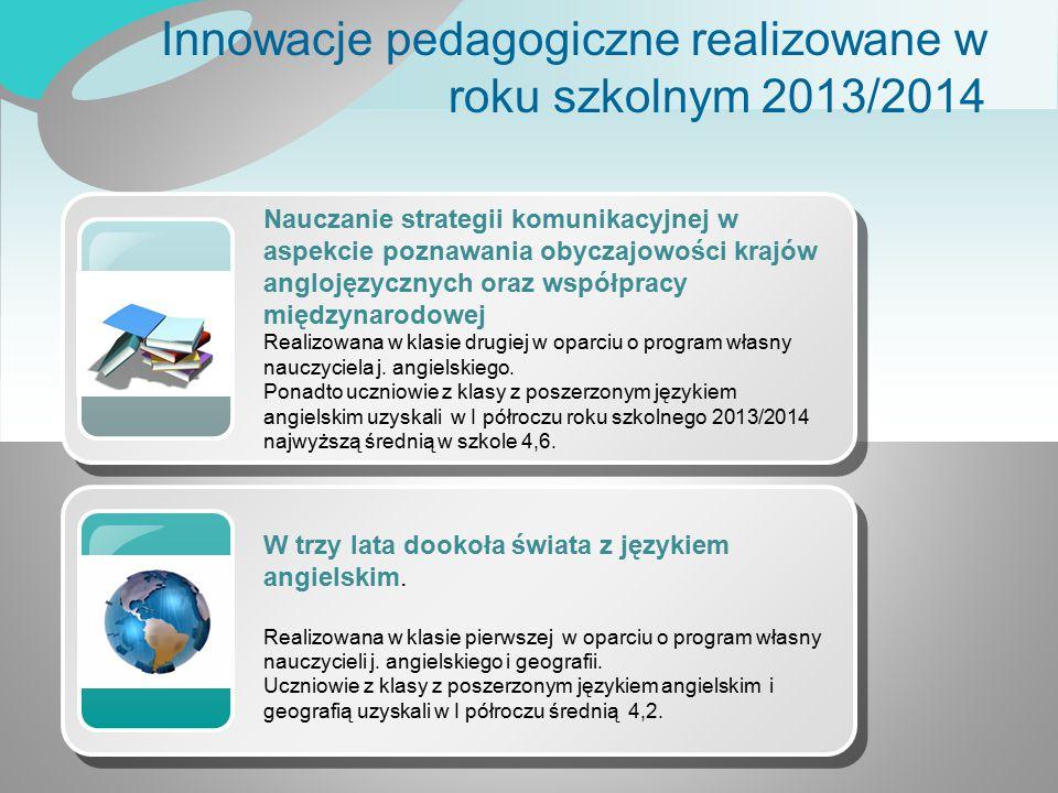 Innowacje pedagogiczne realizowane w roku szkolnym 2013/2014 Nauczanie strategii komunikacyjnej w aspekcie poznawania obyczajowości krajów anglojęzycz