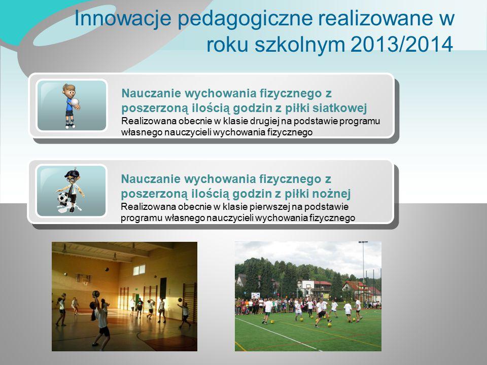 Innowacje pedagogiczne realizowane w roku szkolnym 2013/2014 Nauczanie wychowania fizycznego z poszerzoną ilością godzin z piłki siatkowej Realizowana