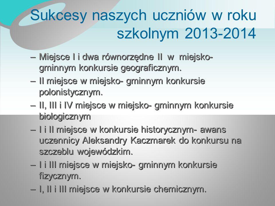 Sukcesy naszych uczniów w roku szkolnym 2013-2014 –Miejsce I i dwa równorzędne II w miejsko- gminnym konkursie geograficznym. –II miejsce w miejsko- g