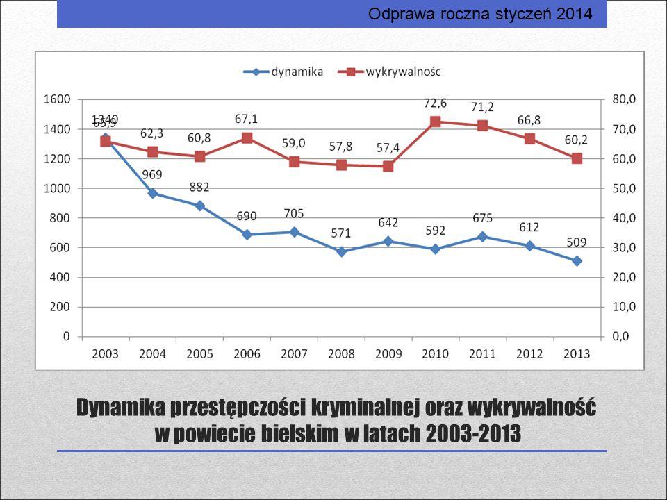 Dynamika przestępczości kryminalnej oraz wykrywalność w powiecie bielskim w latach 2003-2013 Odprawa roczna styczeń 2014