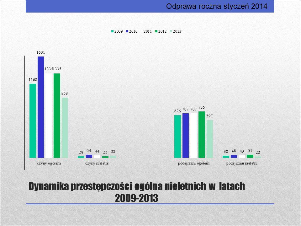 Dynamika przestępczości ogólna nieletnich w latach 2009-2013 Odprawa roczna styczeń 2014