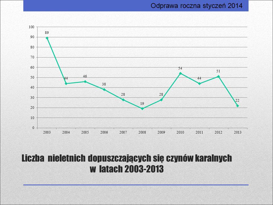 Liczba nieletnich dopuszczających się czynów karalnych w latach 2003-2013 Odprawa roczna styczeń 2014