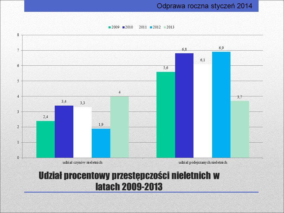 Udział procentowy przestępczości nieletnich w latach 2009-2013