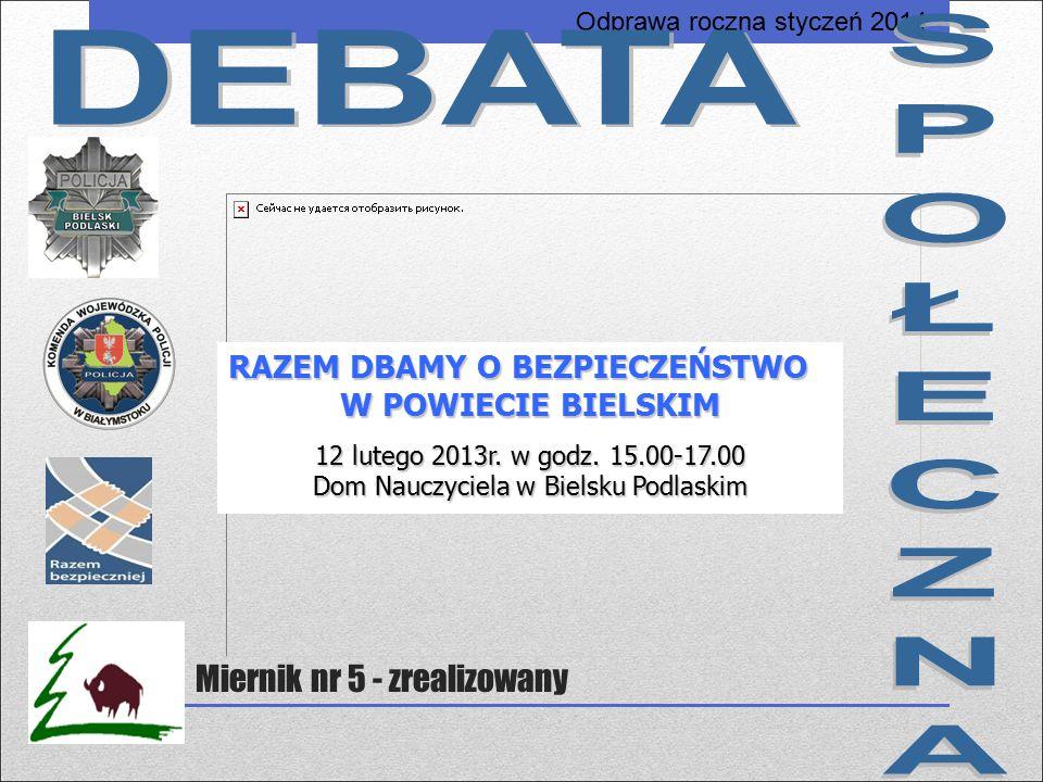 RAZEM DBAMY O BEZPIECZEŃSTWO W POWIECIE BIELSKIM 12 lutego 2013r. w godz. 15.00-17.00 Dom Nauczyciela w Bielsku Podlaskim Miernik nr 5 - zrealizowany