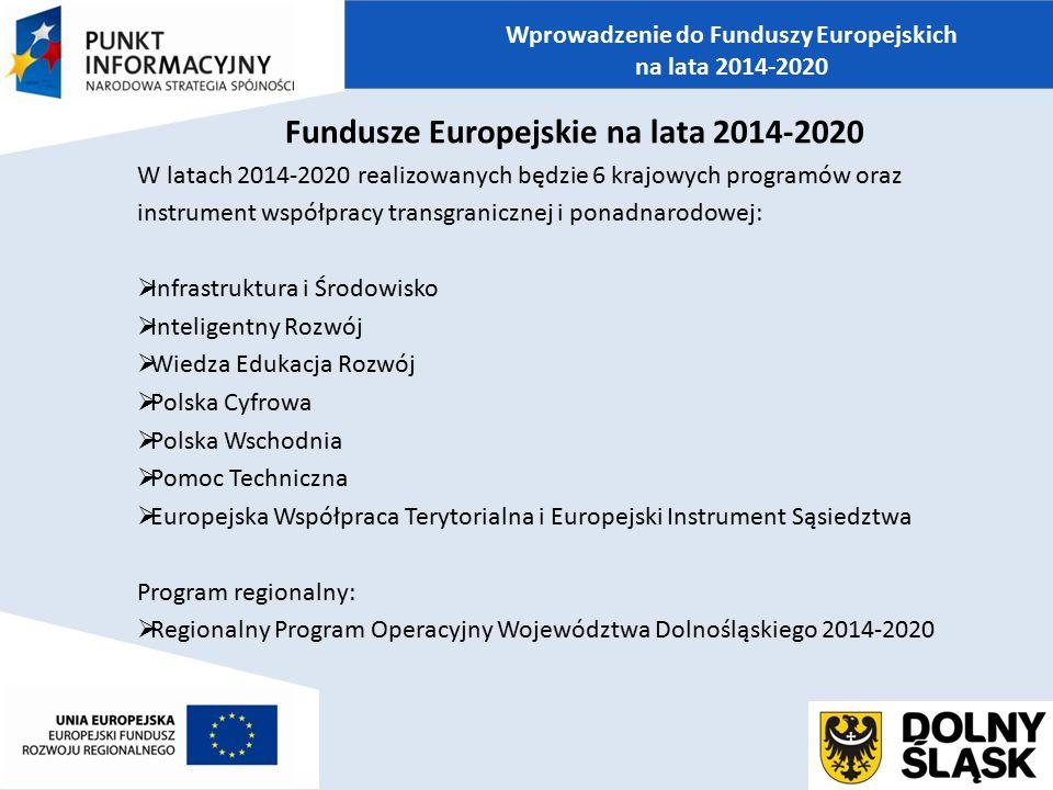 Fundusze Europejskie na lata 2014-2020 W latach 2014-2020 realizowanych będzie 6 krajowych programów oraz instrument współpracy transgranicznej i pona