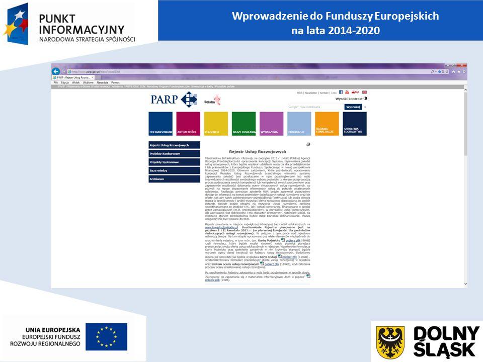 Wprowadzenie do Funduszy Europejskich na lata 2014-2020