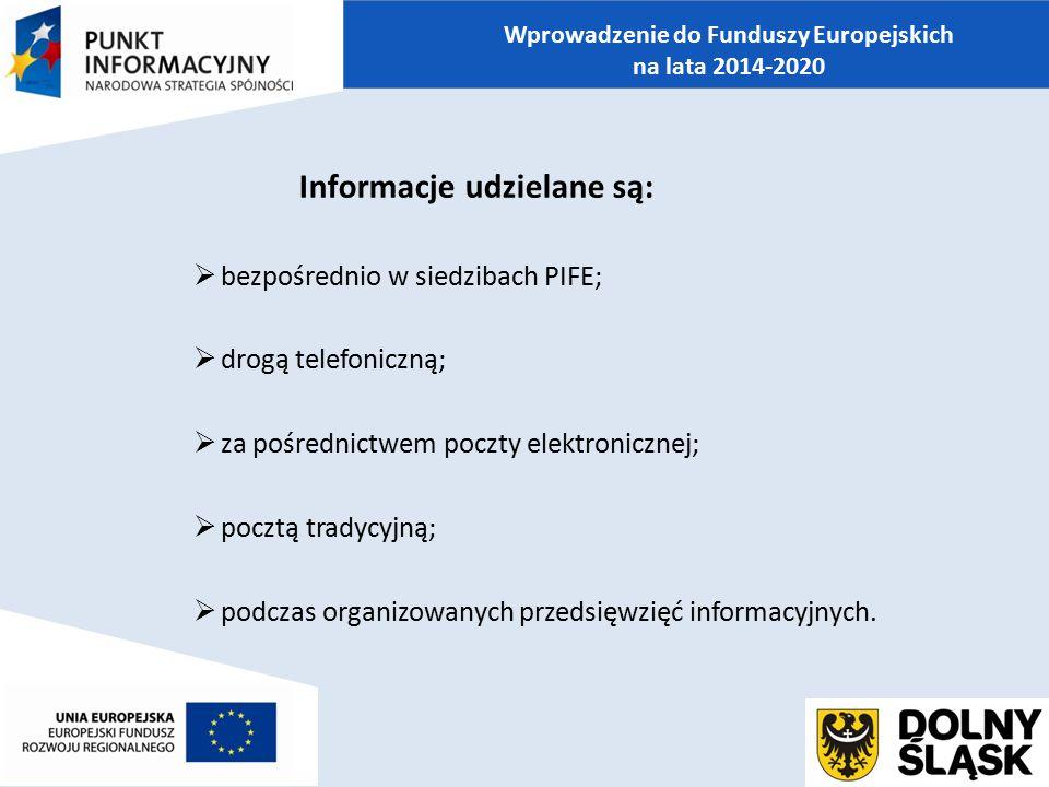 Informacje udzielane są:  bezpośrednio w siedzibach PIFE;  drogą telefoniczną;  za pośrednictwem poczty elektronicznej;  pocztą tradycyjną;  podc