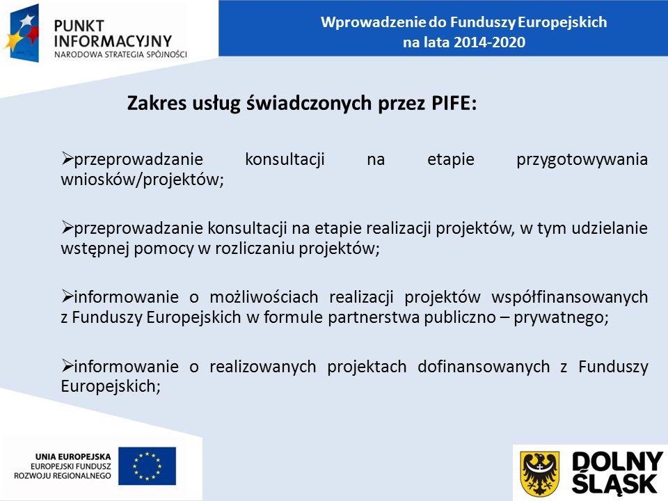 Zakres usług świadczonych przez PIFE:  przeprowadzanie konsultacji na etapie przygotowywania wniosków/projektów;  przeprowadzanie konsultacji na eta