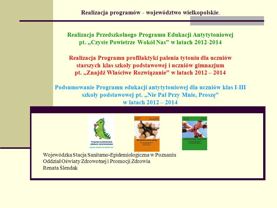 """Podsumowanie Programu edukacji antytytoniowej dla uczniów klas I-III szkoły podstawowej """"Nie Pal Przy Mnie, Proszę w latach 2012-2014"""