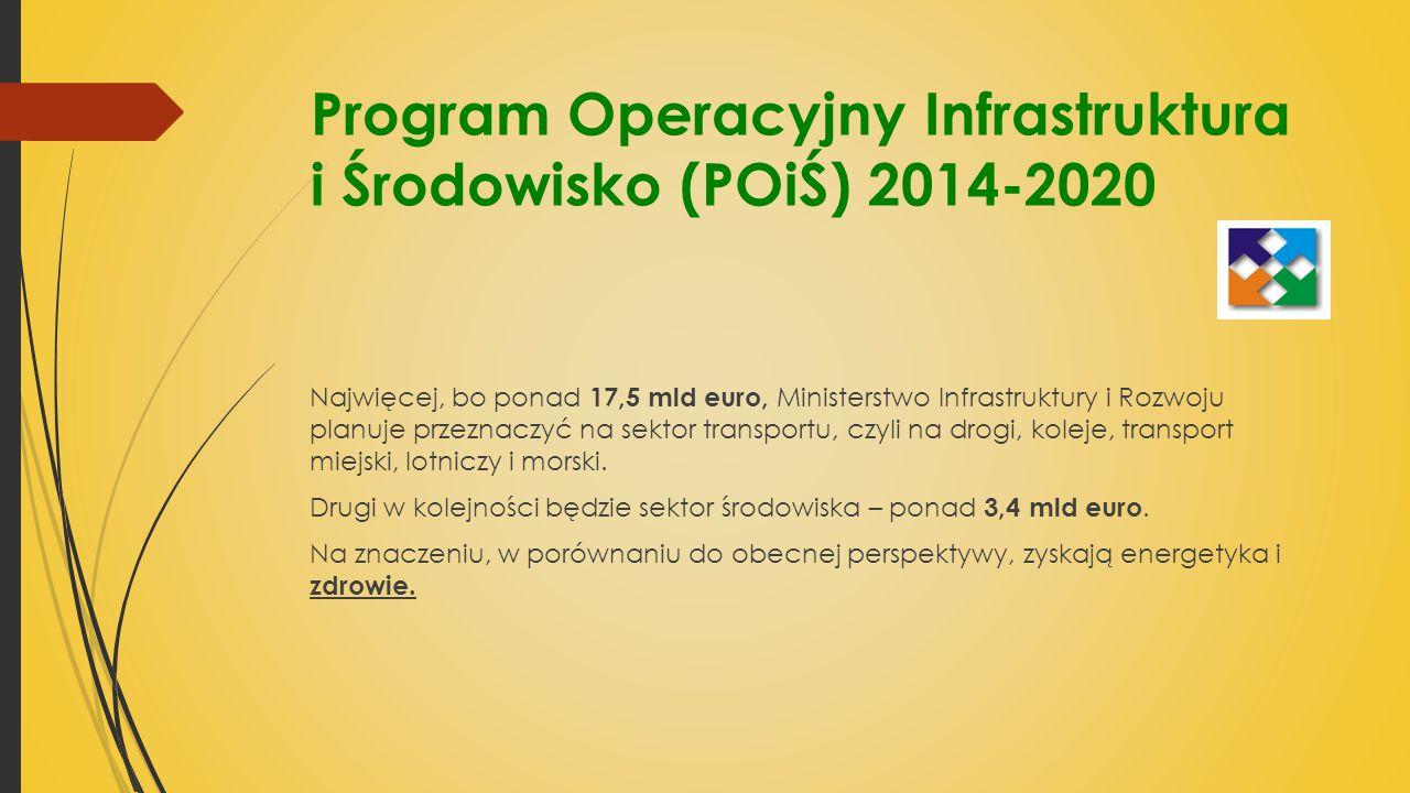 Program Operacyjny Infrastruktura i Środowisko (POiŚ) 2014-2020 Najwięcej, bo ponad 17,5 mld euro, Ministerstwo Infrastruktury i Rozwoju planuje przeznaczyć na sektor transportu, czyli na drogi, koleje, transport miejski, lotniczy i morski.