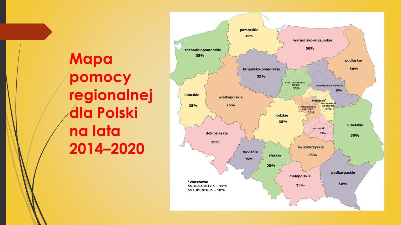 Mapa pomocy regionalnej dla Polski na lata 2014–2020 w.