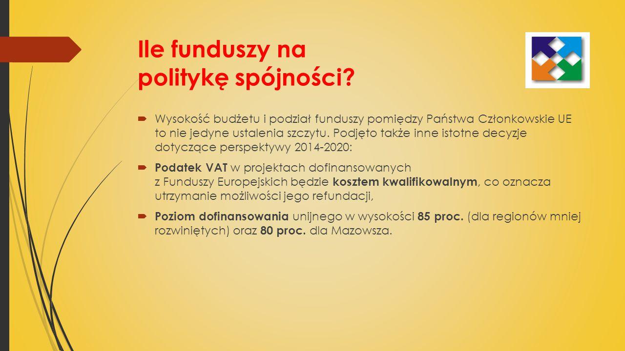 Ile funduszy na politykę spójności.