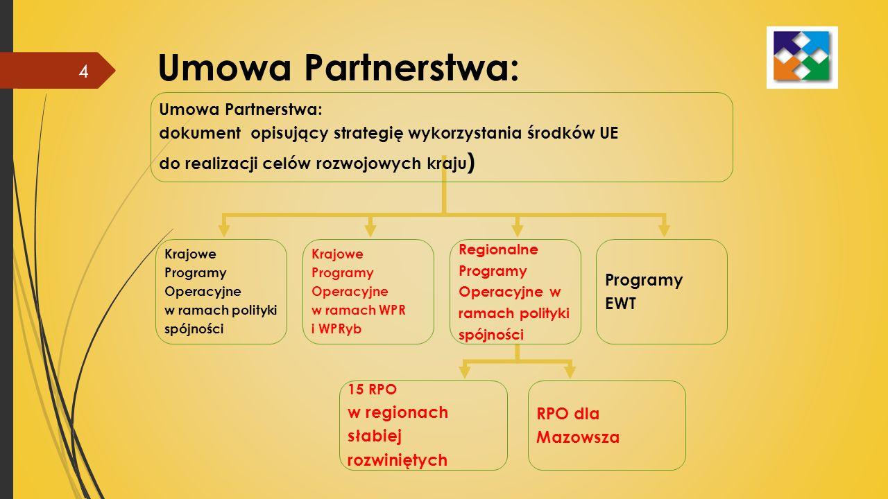 Umowa Partnerstwa: dokument opisujący strategię wykorzystania środków UE do realizacji celów rozwojowych kraju ) Krajowe Programy Operacyjne w ramach polityki spójności Krajowe Programy Operacyjne w ramach WPR i WPRyb Regionalne Programy Operacyjne w ramach polityki spójności Programy EWT 15 RPO w regionach słabiej rozwiniętych RPO dla Mazowsza Umowa Partnerstwa: 4