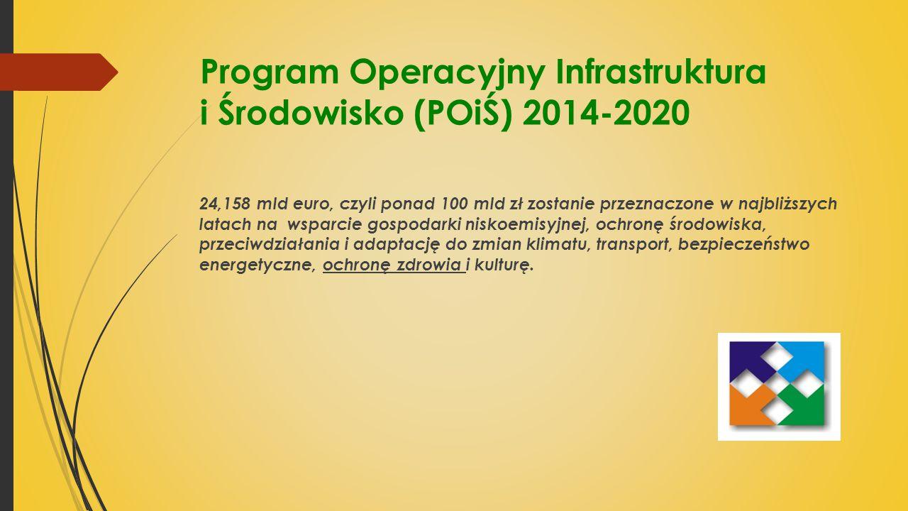 Program Operacyjny Infrastruktura i Środowisko (POiŚ) 2014-2020 24,158 mld euro, czyli ponad 100 mld zł zostanie przeznaczone w najbliższych latach na wsparcie gospodarki niskoemisyjnej, ochronę środowiska, przeciwdziałania i adaptację do zmian klimatu, transport, bezpieczeństwo energetyczne, ochronę zdrowia i kulturę.