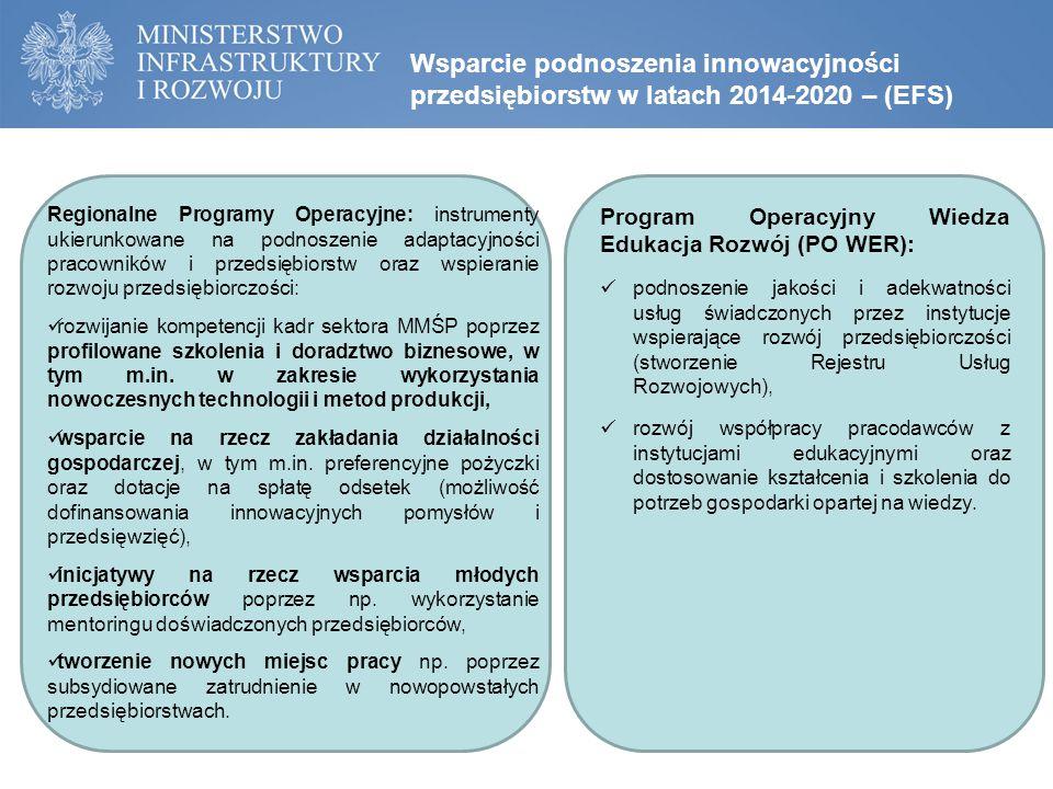 Wsparcie podnoszenia innowacyjności przedsiębiorstw w latach 2014-2020 – (EFS) Regionalne Programy Operacyjne: instrumenty ukierunkowane na podnoszenie adaptacyjności pracowników i przedsiębiorstw oraz wspieranie rozwoju przedsiębiorczości: rozwijanie kompetencji kadr sektora MMŚP poprzez profilowane szkolenia i doradztwo biznesowe, w tym m.in.