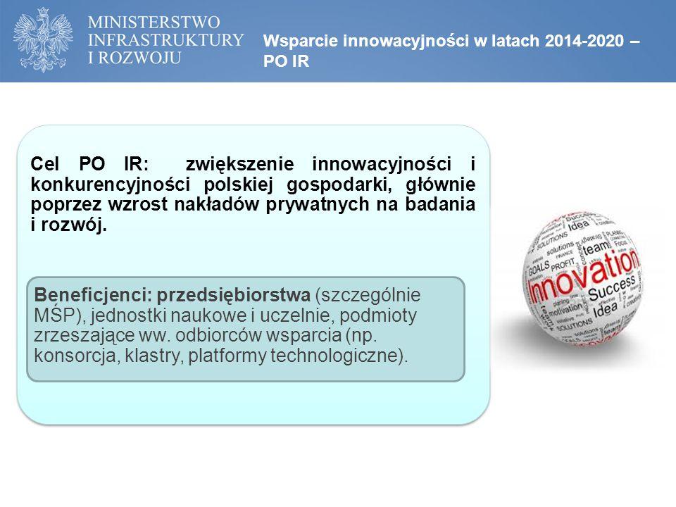 Wsparcie innowacyjności w latach 2014-2020 – PO IR Cel PO IR: zwiększenie innowacyjności i konkurencyjności polskiej gospodarki, głównie poprzez wzrost nakładów prywatnych na badania i rozwój.