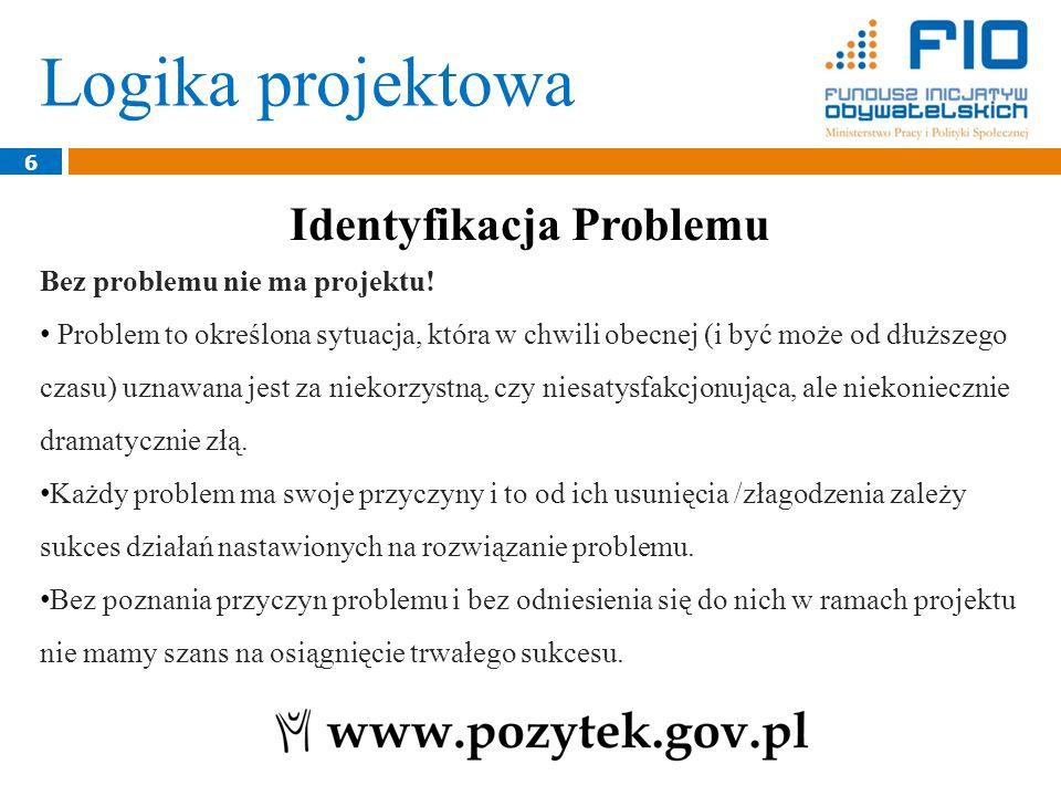 Logika projektowa 7 Problem występuje w określonym miejscu, czasie, grupie/środowisku (nawet jeśli jest zjawiskiem dość powszechnym, to w różnych środowiskach występuje z różnym nasileniem i różnie się przejawia.