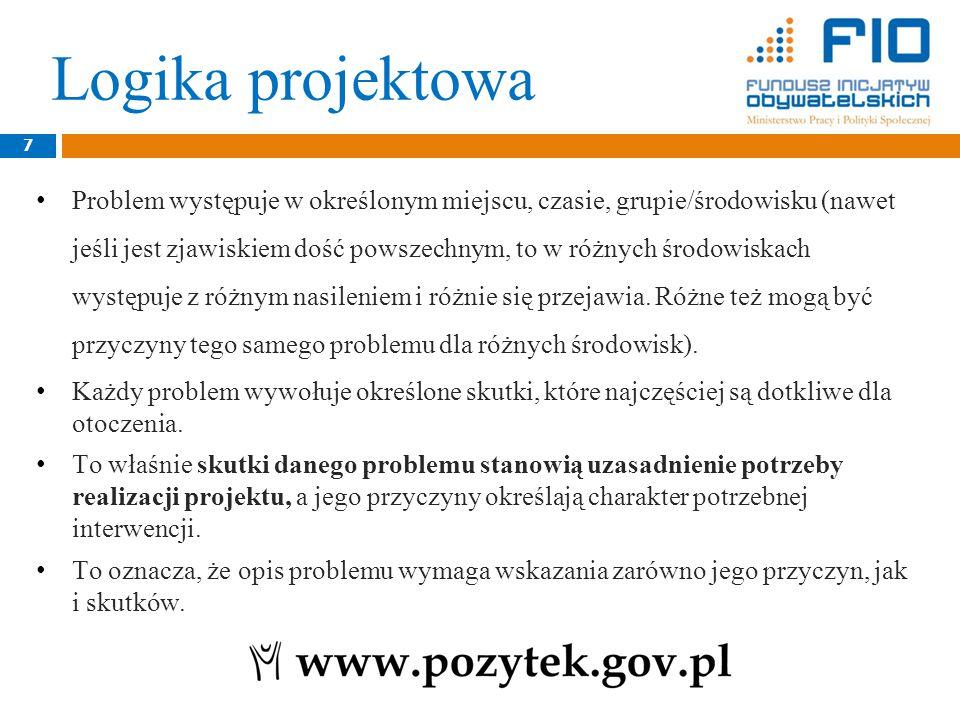 Logika projektowa 8 Wiedzę o problemie, jego przyczynach, skutkach, skali itd.