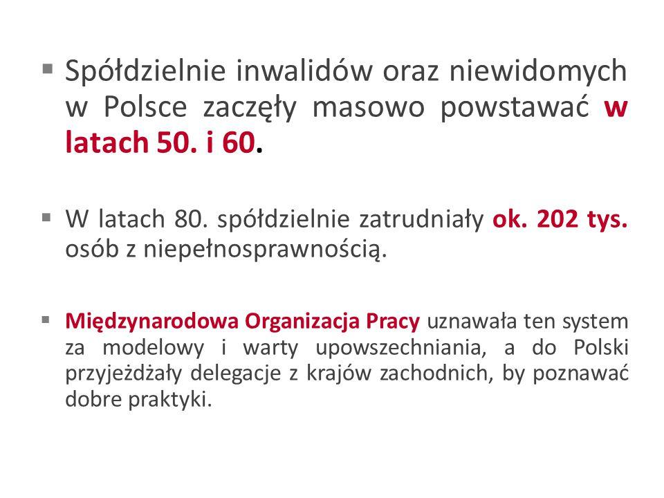  Spółdzielnie inwalidów oraz niewidomych w Polsce zaczęły masowo powstawać w latach 50.