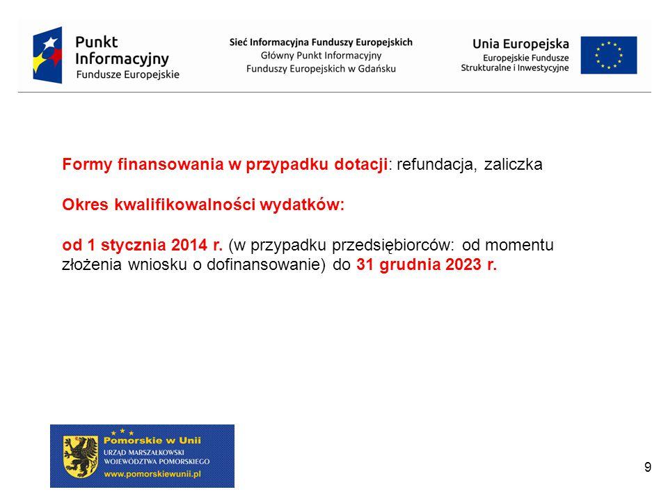 9 Formy finansowania w przypadku dotacji: refundacja, zaliczka Okres kwalifikowalności wydatków: od 1 stycznia 2014 r.