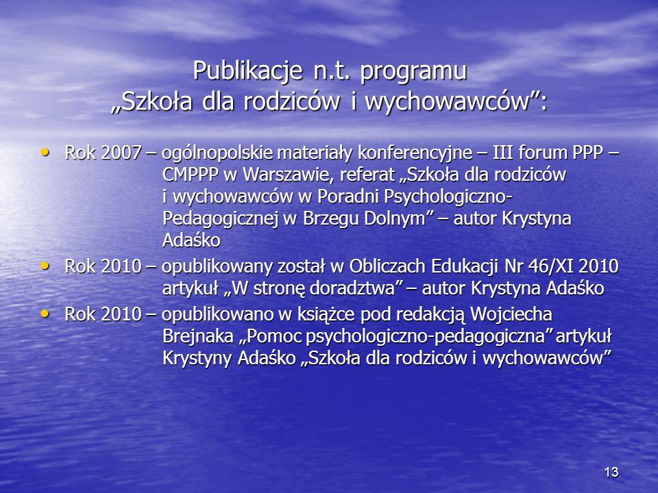 """Publikacje n.t. programu """"Szkoła dla rodziców i wychowawców"""": Rok 2007 – ogólnopolskie materiały konferencyjne – III forum PPP – CMPPP w Warszawie, re"""