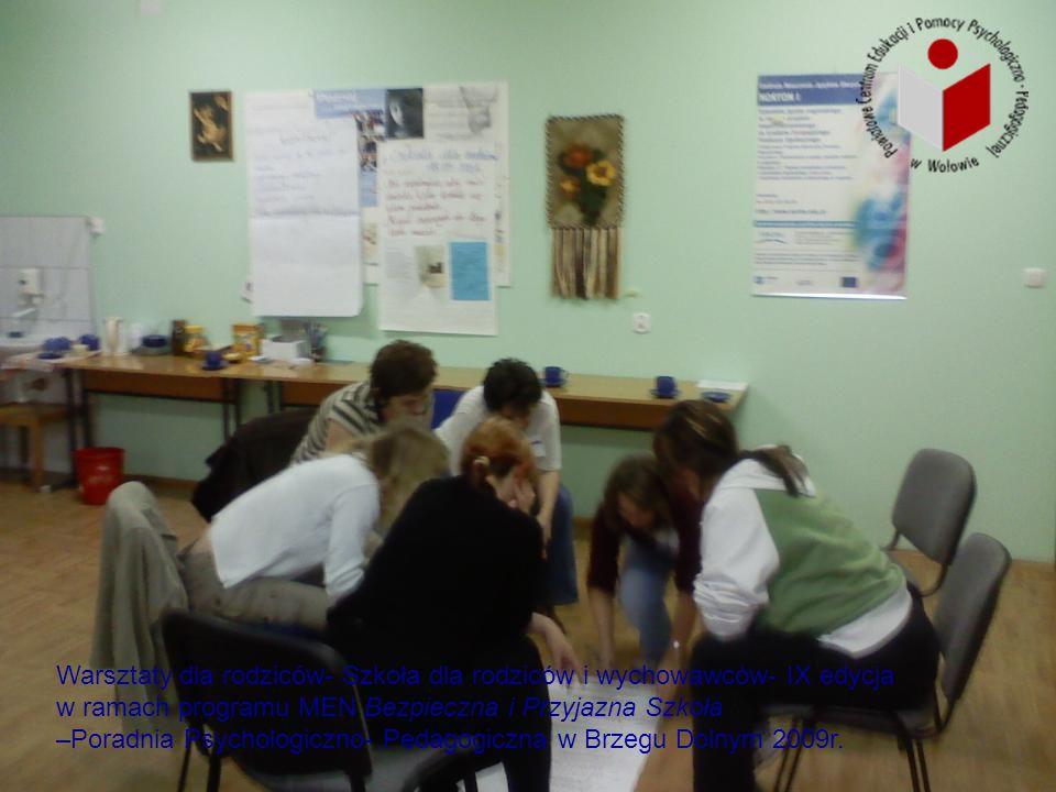 Warsztaty dla rodziców- Szkoła dla rodziców i wychowawców- IX edycja w ramach programu MEN Bezpieczna i Przyjazna Szkoła –Poradnia Psychologiczno- Ped