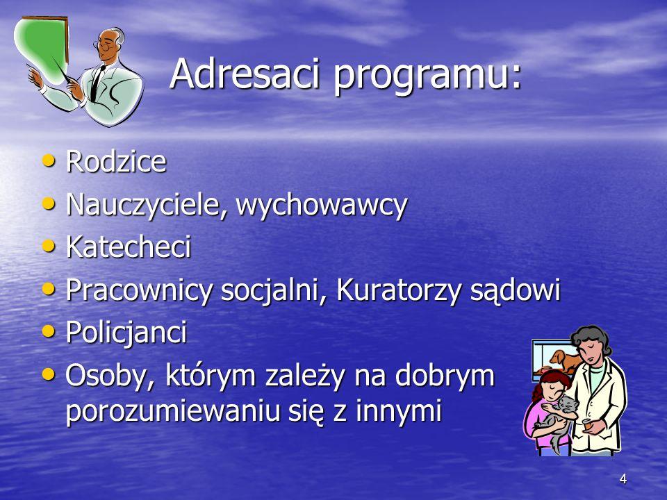 4 Adresaci programu: Adresaci programu: Rodzice Rodzice Nauczyciele, wychowawcy Nauczyciele, wychowawcy Katecheci Katecheci Pracownicy socjalni, Kurat