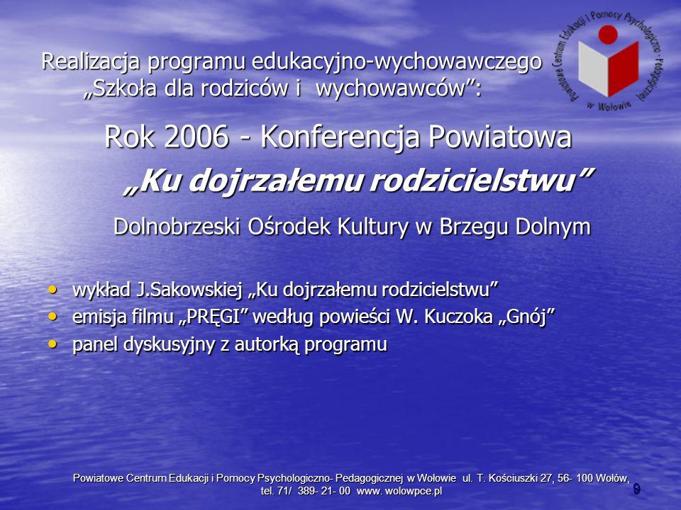 """Realizacja programu edukacyjno-wychowawczego """"Szkoła dla rodziców i wychowawców"""": Rok 2006 - Konferencja Powiatowa Rok 2006 - Konferencja Powiatowa """"K"""