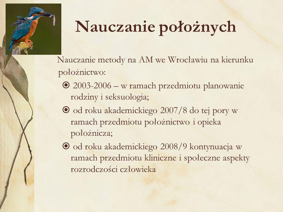 Nauczanie położnych Nauczanie metody na AM we Wrocławiu na kierunku położnictwo:  2003-2006 – w ramach przedmiotu planowanie rodziny i seksuologia;  od roku akademickiego 2007/8 do tej pory w ramach przedmiotu położnictwo i opieka położnicza;  od roku akademickiego 2008/9 kontynuacja w ramach przedmiotu kliniczne i społeczne aspekty rozrodczości człowieka