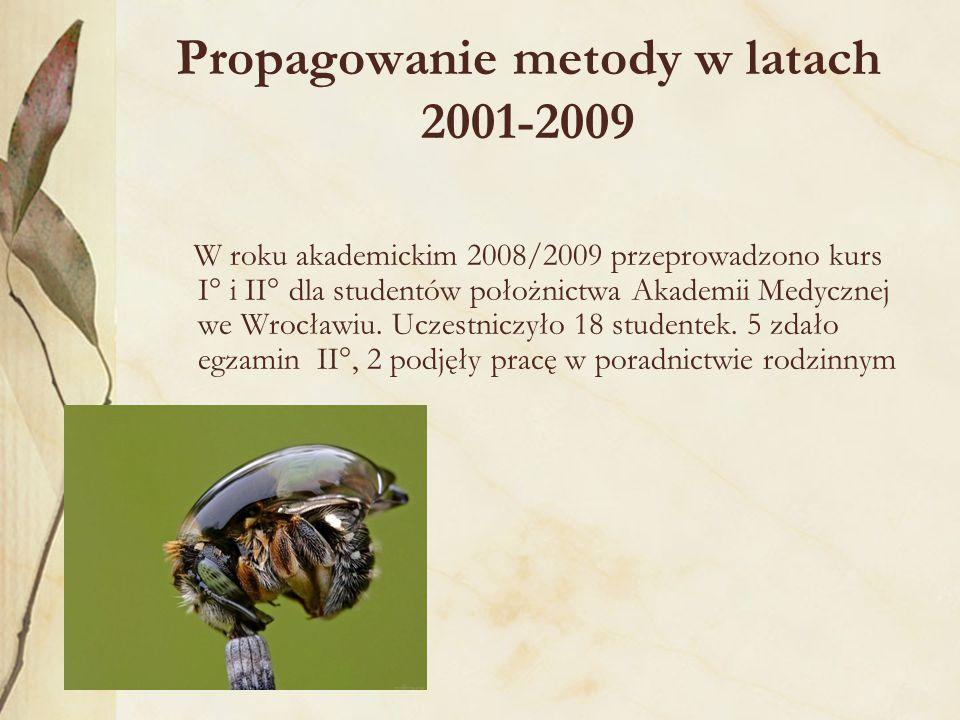 Propagowanie metody w latach 2001-2009 W roku akademickim 2008/2009 przeprowadzono kurs I° i II° dla studentów położnictwa Akademii Medycznej we Wrocławiu.
