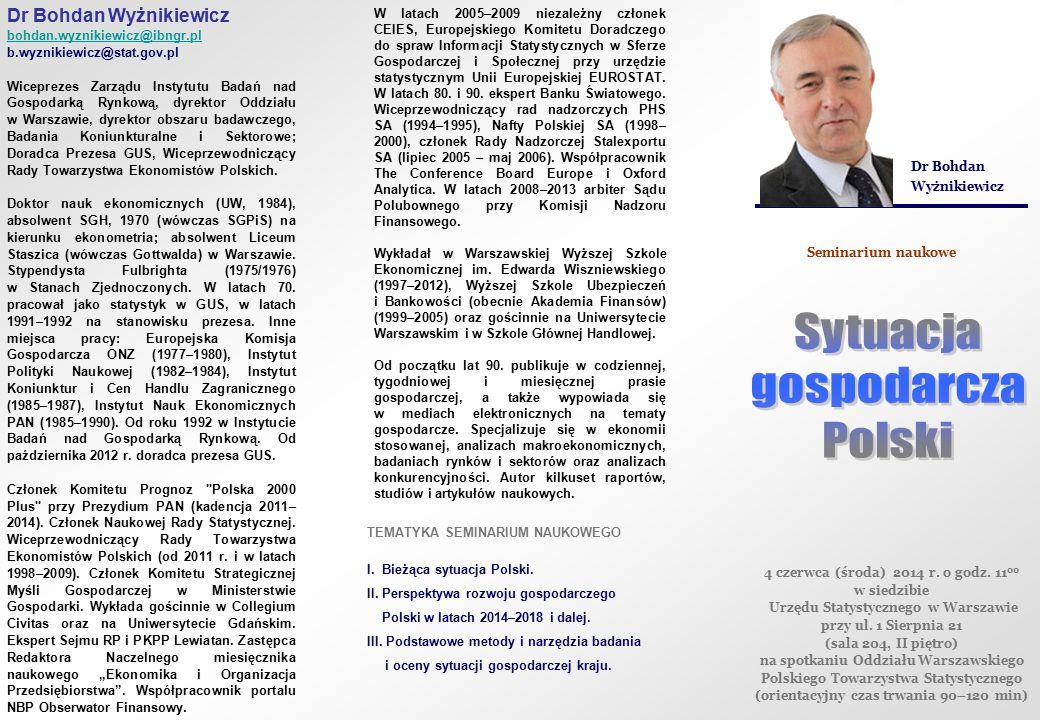 Dr Bohdan Wyżnikiewicz bohdan.wyznikiewicz@ibngr.pl b.wyznikiewicz@stat.gov.pl Wiceprezes Zarządu Instytutu Badań nad Gospodarką Rynkową, dyrektor Odd