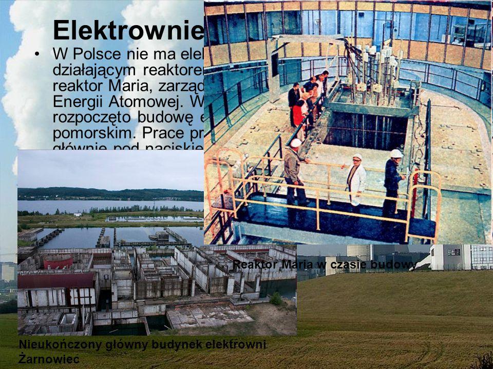 Elektrownie jądrowe w Polsce W Polsce nie ma elektrowni jądrowych. Jedynym działającym reaktorem jądrowym jest badawczy reaktor Maria, zarządzany obec