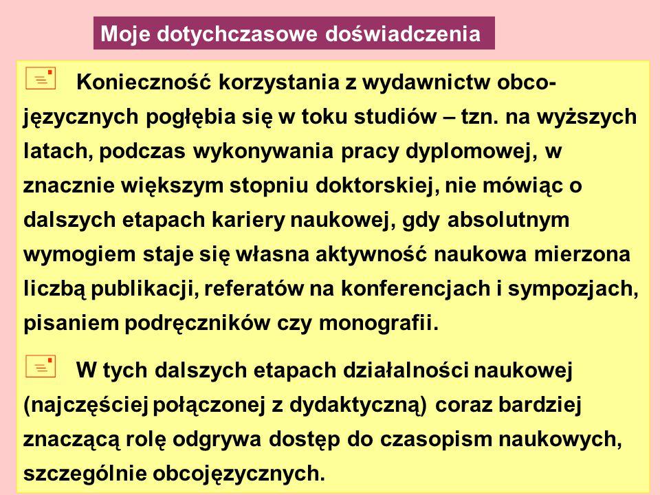+ Konieczność korzystania z wydawnictw obco- języcznych pogłębia się w toku studiów – tzn.