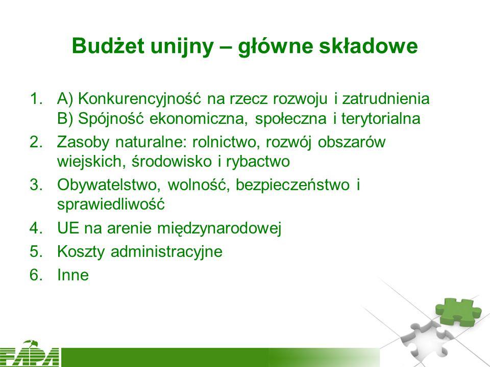 1.A) Konkurencyjność na rzecz rozwoju i zatrudnienia B) Spójność ekonomiczna, społeczna i terytorialna 2.Zasoby naturalne: rolnictwo, rozwój obszarów wiejskich, środowisko i rybactwo 3.Obywatelstwo, wolność, bezpieczeństwo i sprawiedliwość 4.UE na arenie międzynarodowej 5.Koszty administracyjne 6.Inne Budżet unijny – główne składowe