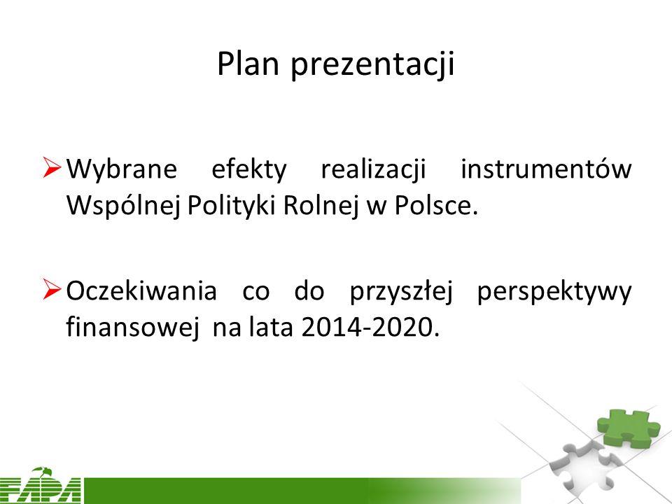 Plan prezentacji  Wybrane efekty realizacji instrumentów Wspólnej Polityki Rolnej w Polsce.
