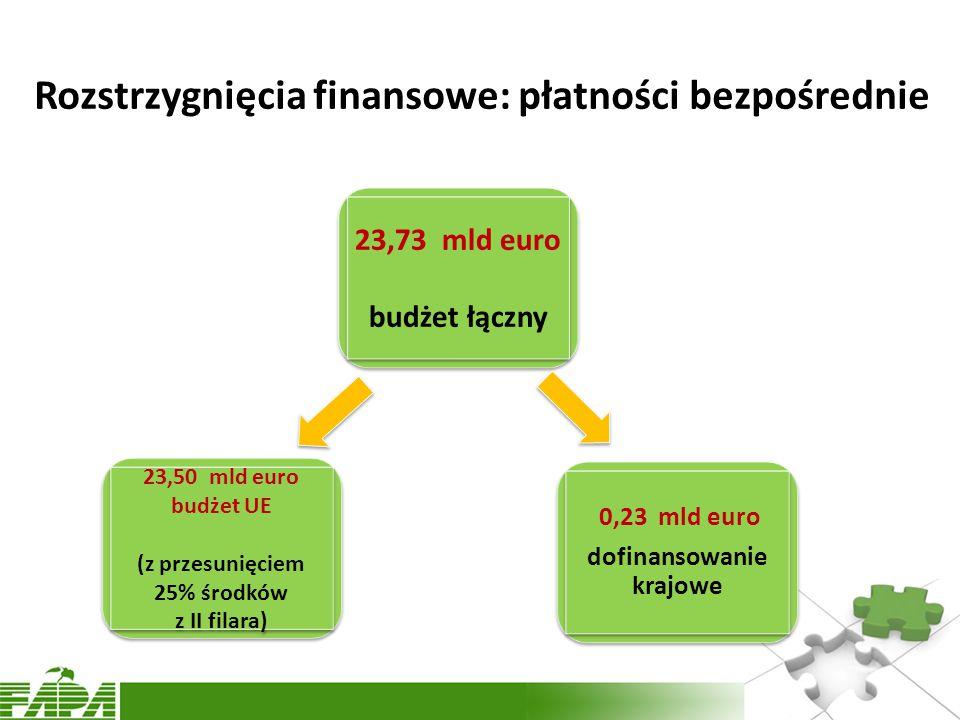 Rozstrzygnięcia finansowe: płatności bezpośrednie 23,73 mld euro budżet łączny 23,73 mld euro budżet łączny 23,50 mld euro budżet UE (z przesunięciem 25% środków z II filara) 23,50 mld euro budżet UE (z przesunięciem 25% środków z II filara) 0,23 mld euro dofinansowanie krajowe 0,23 mld euro dofinansowanie krajowe