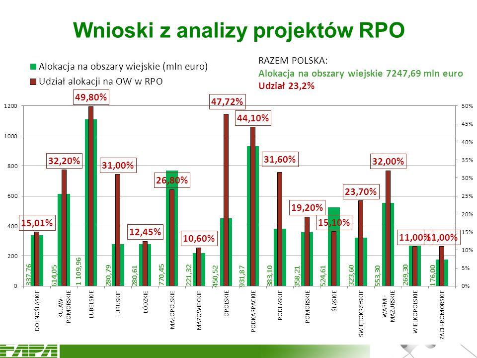 Wnioski z analizy projektów RPO