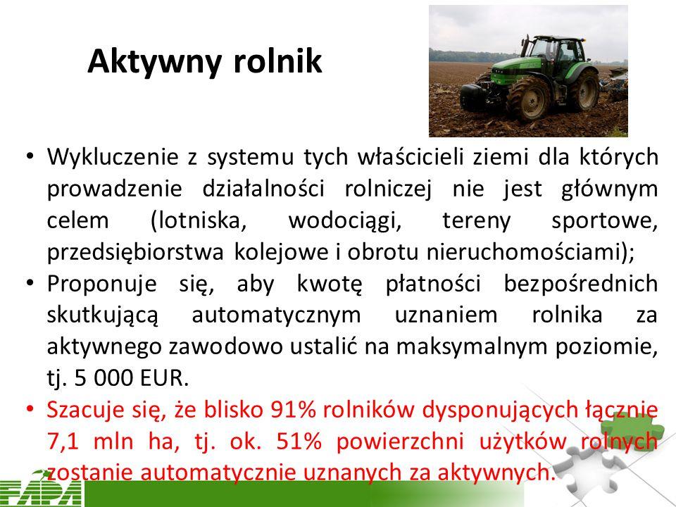 Aktywny rolnik Wykluczenie z systemu tych właścicieli ziemi dla których prowadzenie działalności rolniczej nie jest głównym celem (lotniska, wodociągi, tereny sportowe, przedsiębiorstwa kolejowe i obrotu nieruchomościami); Proponuje się, aby kwotę płatności bezpośrednich skutkującą automatycznym uznaniem rolnika za aktywnego zawodowo ustalić na maksymalnym poziomie, tj.