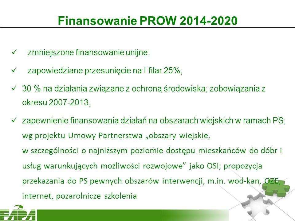"""Finansowanie PROW 2014-2020 zmniejszone finansowanie unijne; zapowiedziane przesunięcie na I filar 25%; 30 % na działania związane z ochroną środowiska; zobowiązania z okresu 2007-2013; zapewnienie finansowania działań na obszarach wiejskich w ramach PS; wg projektu Umowy Partnerstwa """"obszary wiejskie, w szczególności o najniższym poziomie dostępu mieszkańców do dóbr i usług warunkujących możliwości rozwojowe jako OSI; propozycja przekazania do PS pewnych obszarów interwencji, m.in."""