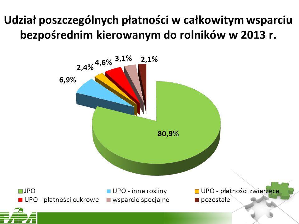 Udział poszczególnych płatności w całkowitym wsparciu bezpośrednim kierowanym do rolników w 2013 r.